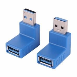 2 PCS L-vormige USB 3.0 man tot vrouw 90 graden hoek plug extensie connector converter adapter (blauw)