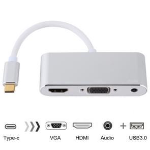 USB 2 0 + audio poort + VGA + HDMI naar USB-C/type-C HUB adapter (zilver)