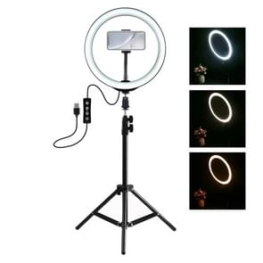 PULUZ 1.1 m statief mount + 10 inch LED ring VLogging video licht live broadcast Kits