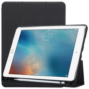 Doek textuur patroon geval voor iPad 9 7 (2018) & iPad 9.7 inch (2017)  met drie-vouwen houder & Pen Slots(Black)