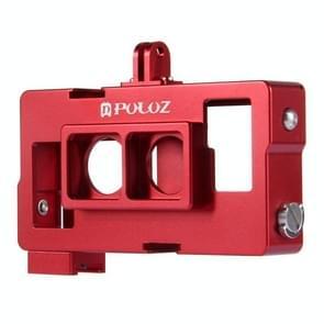 PULUZ 2 in 1 behuizing CNC Aluminium Kooi beschermings voor Objectief Frame voor GoPro Hero 4 / 3+ (rood)