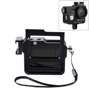 PULUZ CNC Aluminum Alloy beschermende behuizing met veiligheids frame & lensdop voor GoPro HERO4(zwart)
