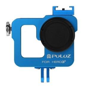 PULUZ Behuizing CNC Aluminium Kooi bescherming met 37mm UV-Filter Lens & Lens Cap voor GoPro HERO 3+ / 3 (blauw)