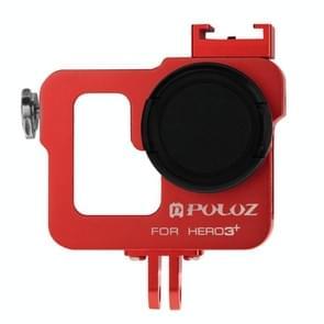 PULUZ Behuizing CNC Aluminium Kooi bescherming met 37mm UV-Filter Lens & Lens Cap voor GoPro HERO 3+ / 3 (rood)
