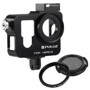 PULUZ Behuizing CNC Aluminium Kooi bescherming met 37mm UV-Filter Lens & Lens Cap voor GoPro HERO4 (zwart)