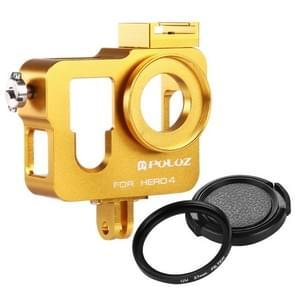 PULUZ Behuizing CNC Aluminium Kooi bescherming met 37mm UV-Filter Lens & Lens Cap voor GoPro HERO4 (Goud)