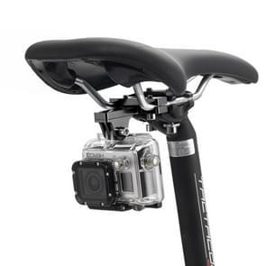 PULUZ Professionele buiten fotografie tool aluminium alloy fietszadel bevestiging camera houder voor GoPro & Xiaomi Xiaoyi YI Sport Actie camera(zwart)