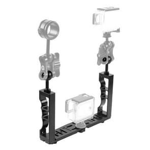 PULUZ verstelbare duiken Dual hand-held CNC aluminium lamp arm houder voor duiken onderwater fotografie systeem