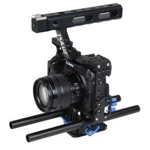 PULUZ handvat videocamera kooi Steadicam stabilisator voor Sony A7 & A7S & A7R & A7R II & A7S II Panasonic Lumix DMC-GH4(Blue)