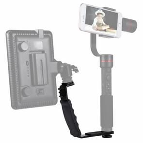 PULUZ L-Shape Bracket Handheld Grip Holder with Dual Side Cold Shoe Mounts for Video Light Flash  DSLR Camera