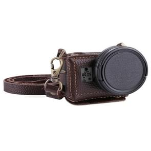 PULUZ for GoPro HERO6 /5 Litchi Texture Genuine Leather Housing Case with Set Key Hole & Neck Strap & 52mm UV Lens(Brown)