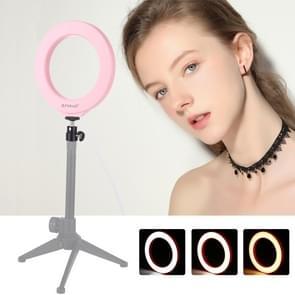 PULUZ 4 7 inch 12cm USB 3 modi Dimbare LED ring Vloggen fotografie video lichten met koude schoen statief bal hoofd (roze)