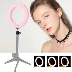 PULUZ 6 2 inch 16cm USB 3 modi Dimbare LED ring Vloggen fotografie video lichten met koude schoen statief bal hoofd (roze)