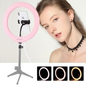 PULUZ 10 2 inch 26cm USB 3 modi Dimbare LED ring VLogging Selfie fotografie video-verlichting met koude schoen statief bal hoofd & telefoon klem (roze)