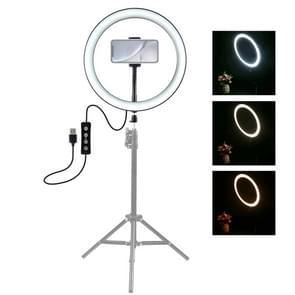 PULUZ 12 inch USB 3 modi Dimbare LED ring VLogging Selfie fotografie video-verlichting met koude schoen statief bal hoofd & telefoon klem