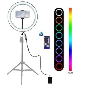 PULUZ 12 inch RGB Dimbare LED ring VLogging Selfie fotografie video-verlichting met koude schoen statief bal hoofd & telefoon klem