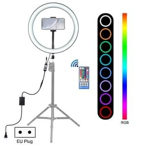 PULUZ 12 inch RGB Dimbare LED ring VLogging Selfie fotografie video-verlichting met koude schoen statief bal hoofd & telefoon klem (EU plug)