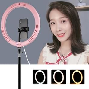 PULUZ 11 8 inch 30cm USB 3 Modes Dimable Dual Color Temperature LED Curved Diffuse Light Ring Vlogging Selfie Photography Video Lights with Phone Clamp(Pink) PULUZ 11.8 inch 30cm USB 3 Modes Dimable Dual Color Temperature LED Curved Diffuse Light Ring Vlo