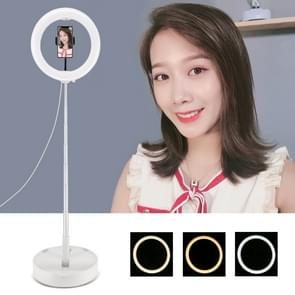 PULUZ 10 2 inch 26cm USB 3 Modes Dimable Dual Color Temperature LED Curved Ring Vlogging Selfie Photography Video Lights with Folding Desktop Holder & Phone Clamp(White) PULUZ 10.2 inch 26cm USB 3 Modes Dimable Dual Color Temperature LED Curved Ring Vlogg