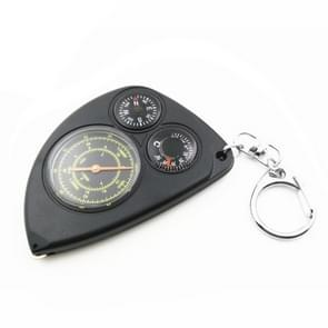 3-in-1 Portable Map Distance Measuring Measurer + Compass + Thermometer with Key Chain for Outdoor Camping Hiking(Black)