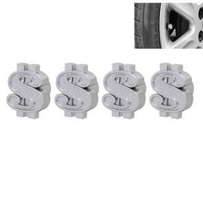 Universele 8mm Dollar stijl Plastic auto Tire Valve Caps  Pack van 4(Silver)