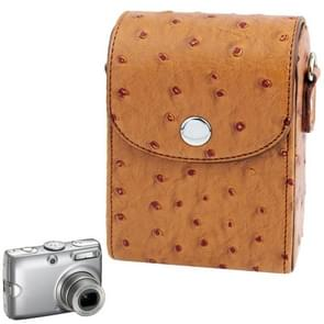 Ostrich Skin Texture Universal Mini Leather Camera Bag with Strap (Brown)