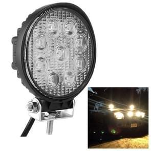Ronde vorm 27W Bridgelux 2150lm 9 LED wit licht Floodlight Engineering Lamp / waterdicht IP67 SUV's licht  DC 10-30V(Black)
