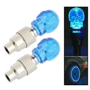 2 x Skull Shaped Valve Cap Light Wheel Tyre Lamp for Car / Motorbike / Bike(Blue)