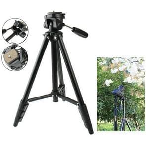 VCT-681 138 cm slr / micro-slr / digitale camera's standaard met drie steunen, 4-sectie opklapbare poten van aluminium, geschikt voor canon / nikon / panasonic / pentax / casio / sony / fuji (max laadvermogen: 3kg)