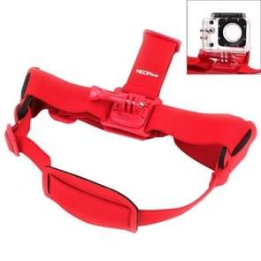 NEOpine GHS-2 Verstelbare hoofdband voor GoPro HERO (2018) 7 / 6 / 5 / 4 / 3+ / 3 / 2 / 1, Xiaomi Yi Sport Camera (rood)