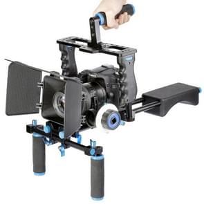 YELANGU YLG1103A-A Dual Handles Camera Shoulder Mount + Camera Cage Stabilizer Kit with Matte Box for DSLR Camera / Video Camera