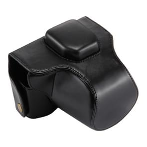 Oil Skin PU Leather Camera Case Bag with Strap for Olympus EM10(Black)