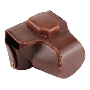 Oil Skin PU Leather Camera Case Bag with Strap for Olympus EM10(Coffee)