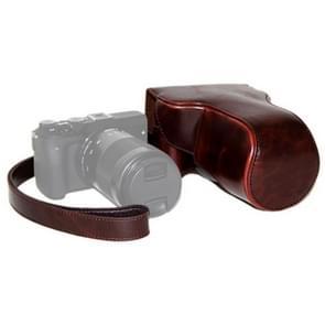 PU Leren Camera Tas Hoes met Strap voor Canon EOS M3 (Koffie kleur)