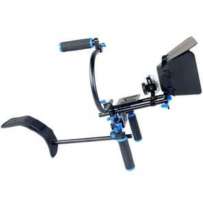 YELANGU YLG1102A-B Schouderstatief met twee Handgrepen + Matte Box & C-Mount voor DSLR / Video Camera