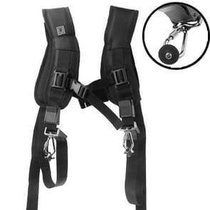 Safe & Fast Quick Double Shoulder Belt Strap for 2 Cameras DSLR (QS-B 1/4(Black)