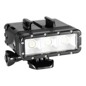 Waterdichte video lamp zaklamp met basis bevestiging, schroeven & dubbele batterijen voor HERO 4/5 SESSION / (2018) 7 / 6 / 5 / 4 / 3+ / 3 / 2 / 1, Dazzne, XiaoYi Camera