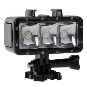 Waterdicht tot 30 m Video lamp 3 standen zaklamp met basis bevestiging & schroeven voor HERO 4/5 SESSION / (2018) 7 / 6 / 5 / 4 / 3+ / 3 / 2 / 1, Dazzne, XiaoYi Camera