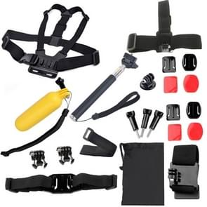 22 in 1 borstriem + externe pols riem hoofd riem + helm Strap + draagtas + Handheld Monopod Mount instellen voor GoPro HERO4 /3+ /3 /2 /1 / SJ4000