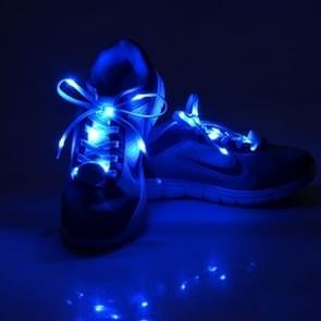 1 Pair LED Fluorescent Flat Shoelaces met Button  Lengte: about 113cm(donker blauw)