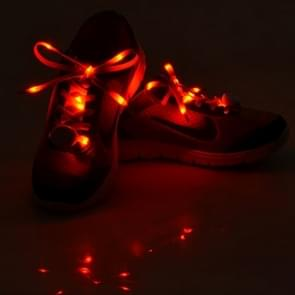1 Pair LED Fluorescent Flat Shoelaces met Button  Lengte: about 113cm(rood)