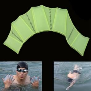 Silicone Swimming Web Fins Hand Flippers Training Gloves  L(Green)
