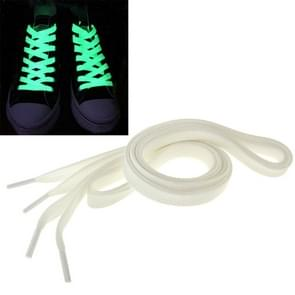 2 PC's Fashion Sports fluorescerende kleur platte Shoelaces(White)