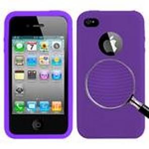 iPhone 4 & 4S Circkel structuur Siliconen back cover Hoesje (paars)