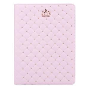 iPad Air 2 / iPad 6 horizontaal Plaid en kroontje structuur PU leren Hoesje met houder (roze)