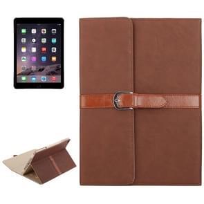 iPad Air 1 & 2 / iPad 5 & 6 horizontaal Business stijl patroon PU leren Hoesje met gespje en drievouws houder (bruin)