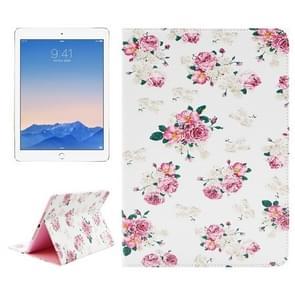 Floral patroon lederen hoesje met houder & opbergruimte voor pinpassen & portemonnee voor iPad Air 2 / iPad 6