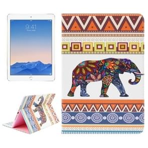 Ethnic Olifant patroon lederen hoesje met houder & opbergruimte voor pinpassen & portemonnee voor iPad Air 2 / iPad 6