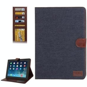 Denim structuur lederen hoesje met opbergruimte voor pinpassen opberg vakjes & houder met houder voor iPad 4 / iPad New (iPad 3) / iPad 2 (zwart)