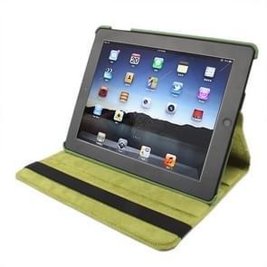 360 graden draaiend PU lederen hoesje met slaap / wekker functie & houder voor New iPad (iPad 3) / iPad 2 / iPad 4, Olive Green